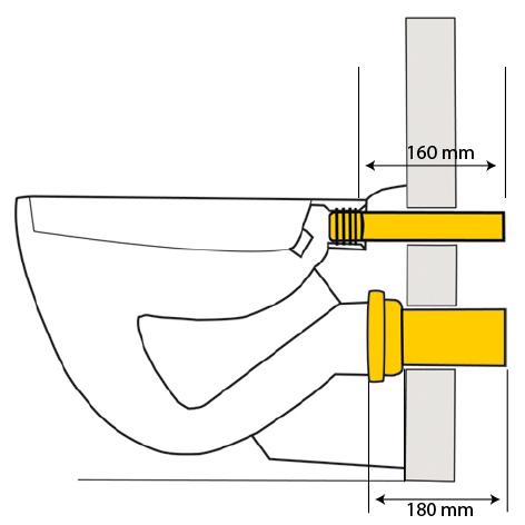 Wand-WC-Anschlußgarnitur 110 x 180mm lang mit Lippendichtung für UP-Spülkasten